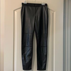 Karl Lagerfeld black imitation leather front pants